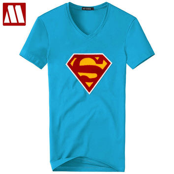 New Men's Superman Singlets Short Sleeved t-shirt Bodybuilding Fitness Men's patched tshirt Casual Summer Clothes