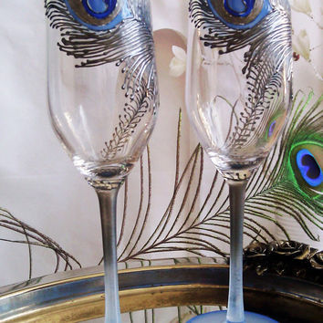 CRYSTAL SET of 2 hand painted Wedding Glasses champagne flutes Peacock feather in silver and light blue