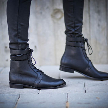 30% Sale, Sofia, Black Boots, Lace Up Boots, Black Riding Boots, Winter Shoes, Brown Flats, Women Boots,  Valentine's Day Gift For Her