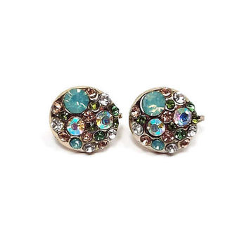 Pastel Multi Color Vintage Rhinestone Clip On Earrings Gold Tone Round Button Style Pave Set Retro Womens Spring Summer Easter Jewelry