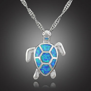 Fire Opal Turtle Pendant Necklace