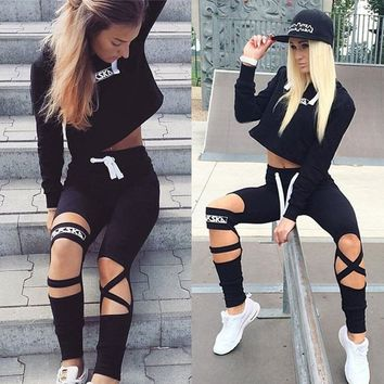 Womens 2pcs Suit Cropped Hoodies Sweatshirt Pants Sports Sets Wear Casual Tracksuit Suits