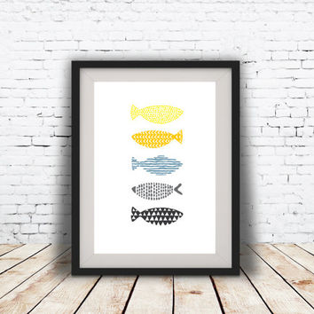 PRINT of Fish Abstract art Geometric art Retro poster Minimal Modern Scandinavian Nordic Style Abstract poster print