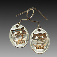 Owl Earrings, Fine Silver, Sterling Silver Ear Wires, Handmade