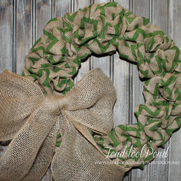 "16"" Country Green Chevron Burlap Wreath with Bow Shabby Chic Rustic Beauty"