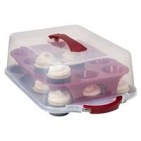 Chefmate™ 24 Cavity Plastic Covered Cupcake Carrier - Clear/Red