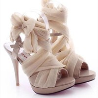 High Heel Chiffon Lace Up Sandals for Women Beige NJC061626 from topsales