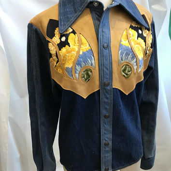 60s Hippy embroidered denim shirt