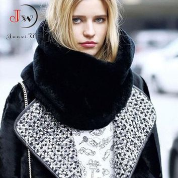 Rabbit Fur Winter Scarf Women Faux Fur Collar Ring Scarves Lady Pashmina Wraps Shawls Winter Bandana foulard Cashmere ST0008