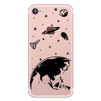 ciciber I need my space Planet Rocket Outer space transparent soft silicone phone case cover for iPhone 6 6S 7 8 plus 5S SE X