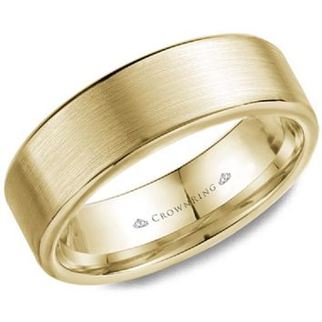 CrownRing 7MM Wide Yellow Gold Brushed Center Wedding Band