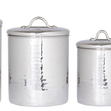 4 Pc. Stainless Steel Hammered Canister Set w/Fresh Seal Covers 4/2/1.5/1Qt