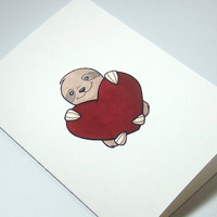 Cute sloth illustration print anniversary card