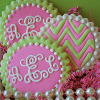 Preppy Script Monogram and Chevron Decorated Sugar Cookies (12)