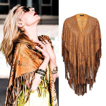 Women Coffee Faux Suede Leather Cut Out Summer Beach Cover Up Kimono Long Fringes Tassels Thin Coat Cardigan Jacket 2015 = 1931581188