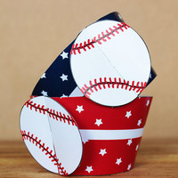 Printable 3D Baseball Sports Party Cupcake Wrapper Set in bright red and dark blue star patterns INSTANT DOWNLOAD