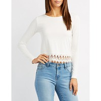 Crochet-Trim Caged-Back Top | Charlotte Russe