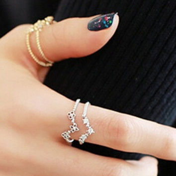 New Arrival Gift Jewelry Shiny Stylish Korean Double-layered Deep V Adjustable Ring [6586199687]
