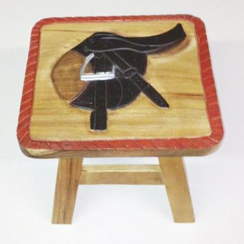English Saddle Hand Carved and Hand Painted Wooden Footstool