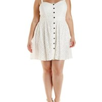 Plus Size White Button-Up Lace Dress by Charlotte Russe