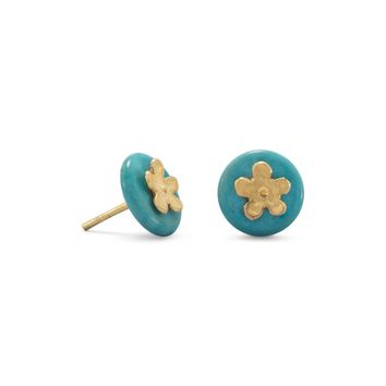 14 Karat Gold Plated Flower and Turquoise Disk Stud Earrings