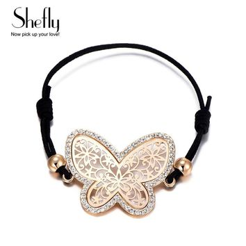 Beautiful Butterfly Bracelet For Girls Women Hand Jewelry Gold Silver Color Charm With Black Adjustable Rope For Best Friend