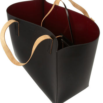 Marni | Large faux leather and leather asymmetric tote | NET-A-PORTER.COM