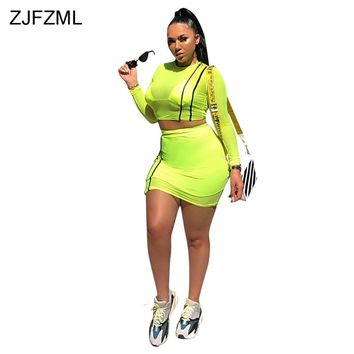 ZJFZML Mesh Patchwork Sexy Two Piece Set Dress Women O Neck Full Sleeve See Through Dress Casual Striped Sportwear Club Dresses