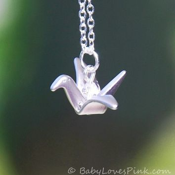 Origami Crane Crystal Necklace ( white gold )