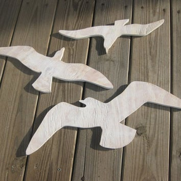 Seagulls beach decor sea birds wood wall art cottage coastal distressed shabby chic