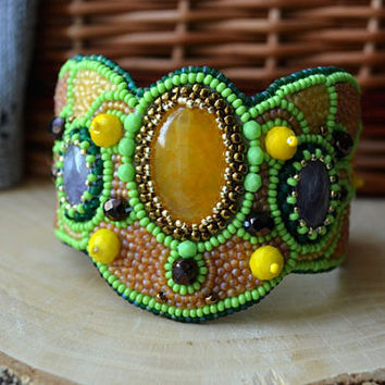 Green Yellow Bead Embroidered Bracelet Agate Amethyst Beaded Bracelet Beadwork Bracelet Bead Embroidery Jewelry Seed Bead Bracelet Taitallas