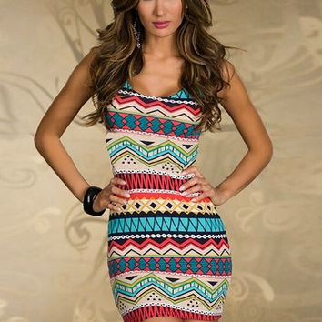 Women Sexy Slim Stretch Bodycon Mini Ethnic-print Evening Party Dress Club = 1946936708
