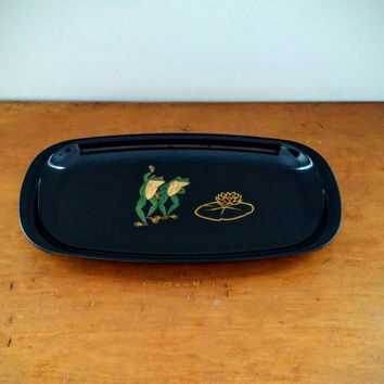 Vintage Couroc, Dancing frogs, small tray, rectangular dish, serving, kitchenware, gifts, collectible, homedecor, barware, decorative, party