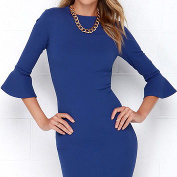 Sleeve Your Mark Royal Blue Bodycon Dress