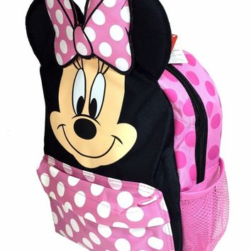 """Disney Minnie Mouse 3D Happy Face Ears 12"""" Toddler Backpack"""