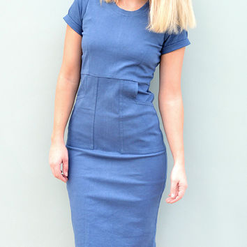 Blue Organic Cotton Utility Dress by Desire Lines