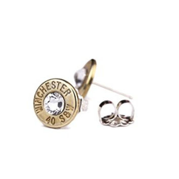 Winchester® 40 Caliber Brass Bullet Stud Earrings, Swarovski Crystals, .925 Sterling Silver Posts