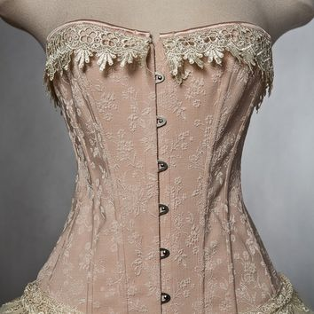 Custom Size Peach and ivory lace tutu burlesque corset prom formal dress Small-XL