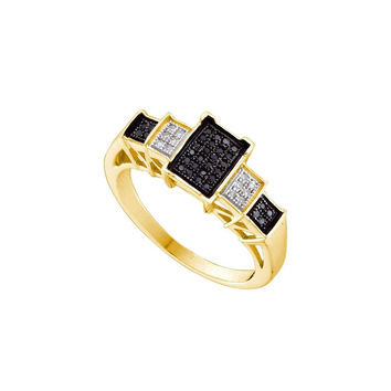 1-6CT-Diamond MICRO-PAVE BLACK RING