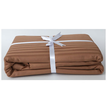 Stripe Sateen Duvet Cover Set - Chocolate