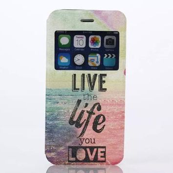 LIVE the life you LOVE Print Leather Case Cover for iPhone 6S 6 Plus Samsung Galaxy S6-170928