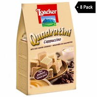 8 Pack Loacker Quadratini Cappuccino Wafer Cookies