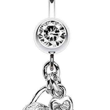 Puffed Heart Lock & Key Charm Dangle Belly Button Ring
