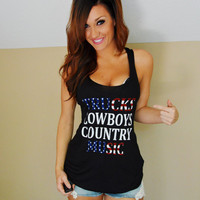 Trucks, Cowboys, Country Music tank top