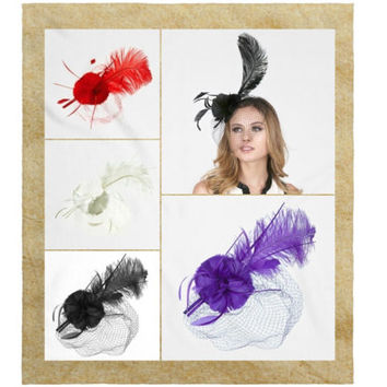 Long Feather Veil Fascinator, Detachable Dual Headband / Hair Clip, Church, Wedding, Party, Derby You Choose Color