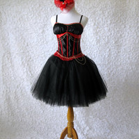 Corset Tulle Dress - black satin corset with black tulle skirt, gloves and hat for prom, burlesque, steampunk, saloon, circus, ringmaster