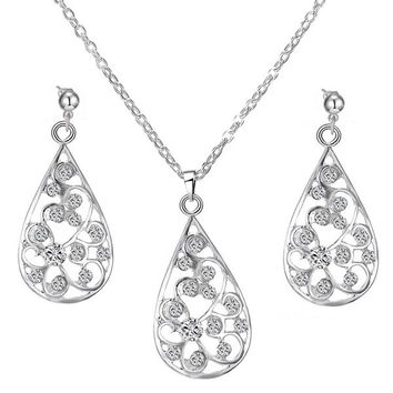 Rhinestone Water Drop Cirrus Necklace and Earrings