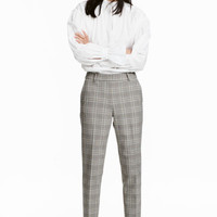 Cigarette trousers - Grey beige/Checked - Ladies | H&M GB