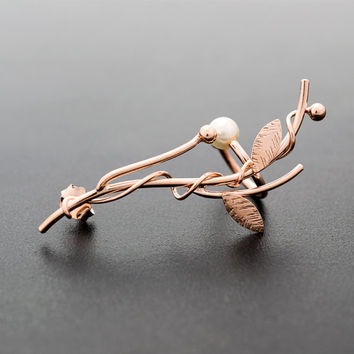Leaf ear cuff, floral earring, twig earring, rose gold ear cuff, fairy earcuff, vine earring,modern rose gold earring, rose gold jewelry