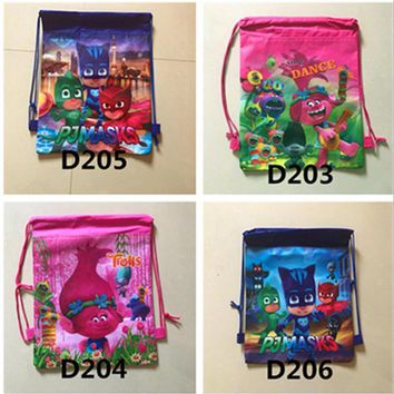 12Pcs Trolls Masks Elena of Avalor Non-Woven Fabric Backpack Kids Favors Drawstring Bags Baby Birthday Party Traveling Bags